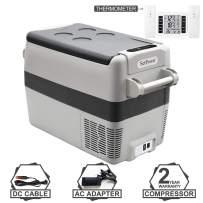Setpower AJ40 42 Quarts Portable Freezer Fridge Car Refrigerator, -0.4℉-50℉, DC 12/24V, AC 110-240V, with AC Adapter & Wireless Thermometer