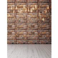 SJOLOON Brick Wall Backdrop Portrait Photographer Backdrops Wood Floor Photo Background Nostalgic Photo Backdrop Studio Props 11563 (5x7FT)