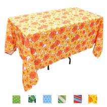 Eternal Beauty Polyester Outdoor Tablecloth Rectangular Spillproof for Fall Patio Picnic BBQ (Sunflower, 60x84inch)