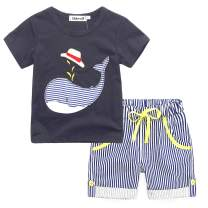 Ddwolf Toddler Boys Cotton Clothes Sets Short Sleeve Tee and Shorts