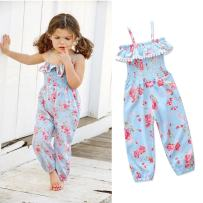 Franterd Baby Girls Straps Rompers, Kid Flower Print Jumpsuits Piece Pants Clothing