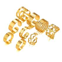 FOCALOOK 6-9PCS Stackable Rings Set for Women Teens 18K Gold Plated Statement Vintage Rings Size Adjustable