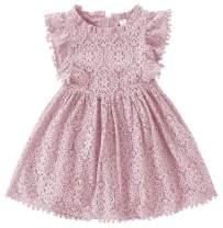 Popshion Toddler Girls Baby Lace Dress Hollow Pom Pom Flutter Sleeve Vintage Princess Party Dresses