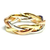 14K Tri-Color Gold Intertwined Braided Ring, 5mm