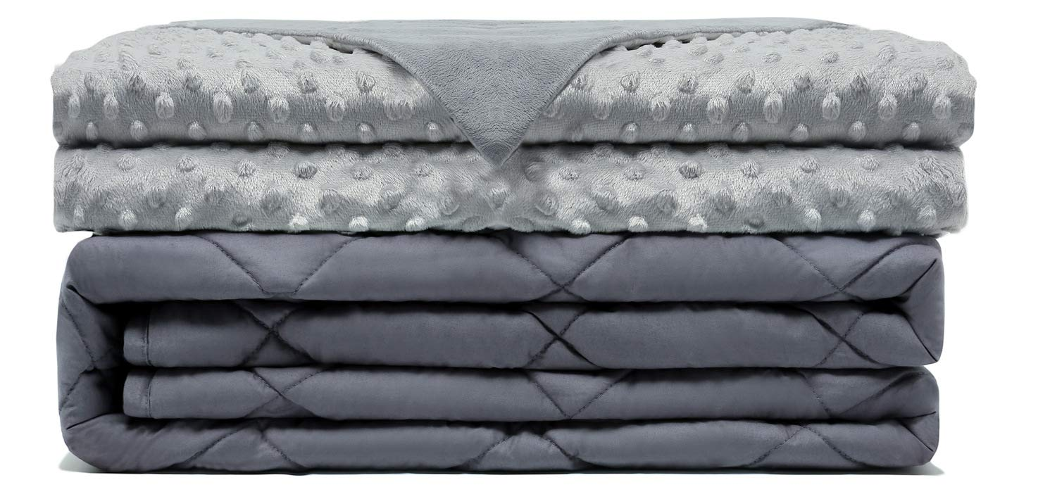 """Comfamille Weighted Blanket with Grey Removable Cover 