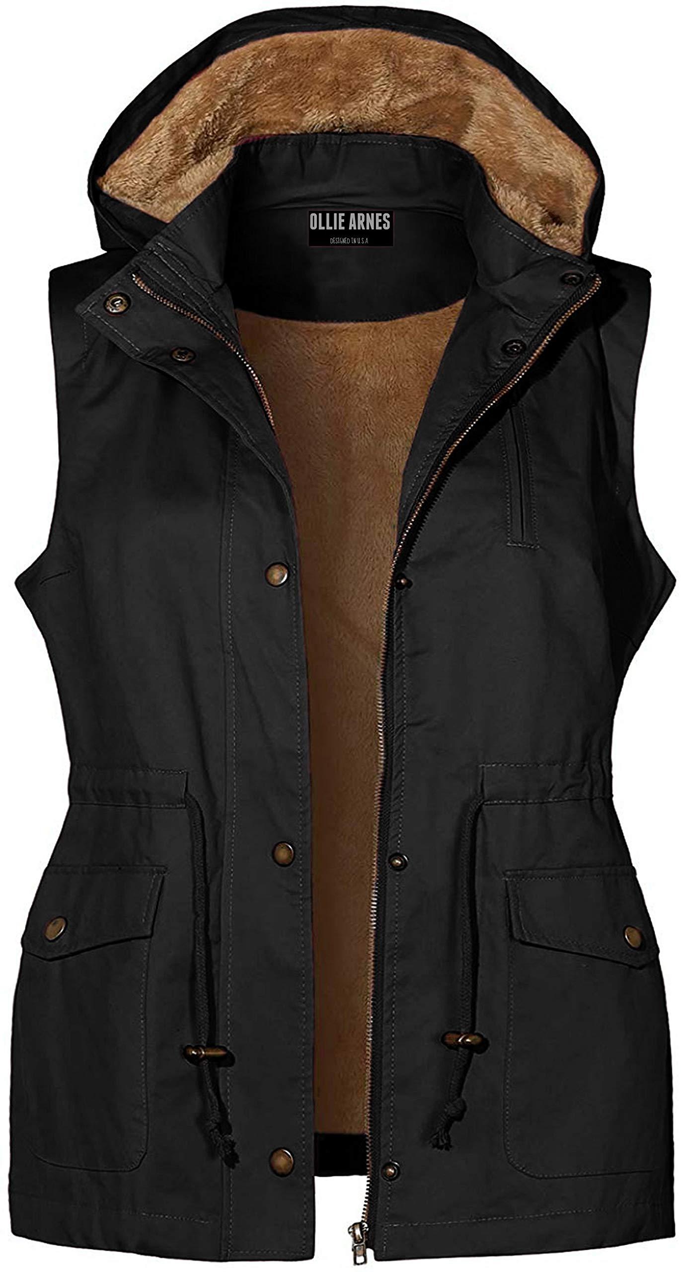 OLLIE ARNES Women's Faux Fur Sherpa Plush Shearling Lined Anorak Vest Jackets