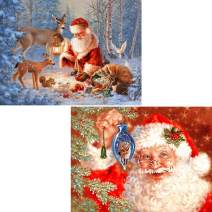 SKRYUIE 2 Pack 5D Diamond Painting Christmas Santa Claus and Reindeers Full Drill Paint with Diamond Art, Xmas DIY Painting by Number Kits Rhinestone Wall Home Decor 30x40cm (12x16 inch)