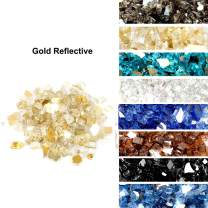 Skyflame High Luster 10-Pound Fire Glass Fire Pit Fireplace Landscaping, 1/4 inch Gold Reflective