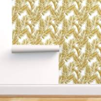Spoonflower Pre-Pasted Removable Wallpaper, Palm Leaves Summer Tropical Gold Effect Floral Print, Water-Activated Wallpaper, 24in x 36in Roll