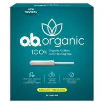 o.b. O.b. organic tampons with new plant-based applicator, 100% organic cotton, regular, 18 count (Pack of 3)