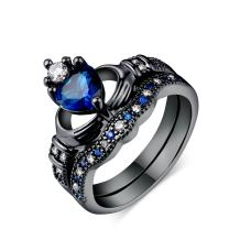 Herinos Womens Stackable Ring Set Blue Sapphire Heart Shape Spinel Black Gold CZ Wedding Engagement Band Size 5-9