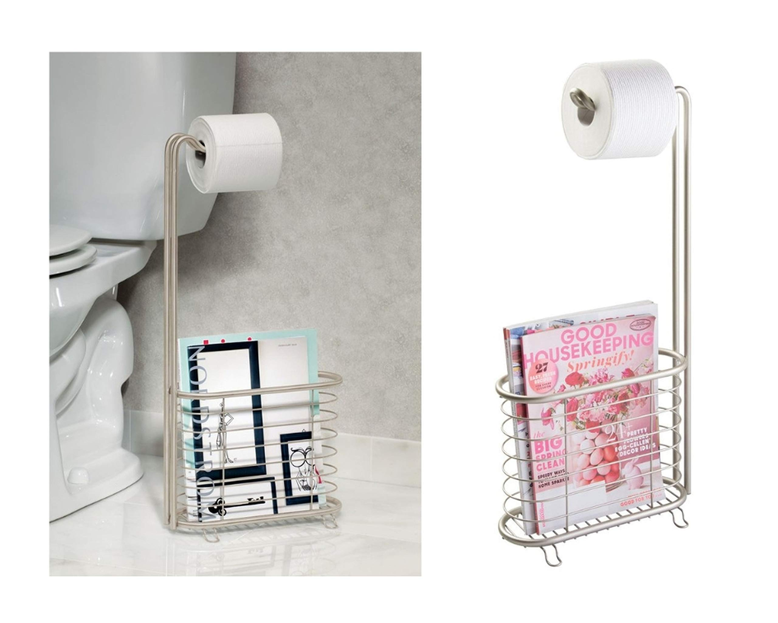 InterDesign Forma Free Standing Toilet Paper Holder and Newspaper and Magazine Rack for Bathroom - Satin