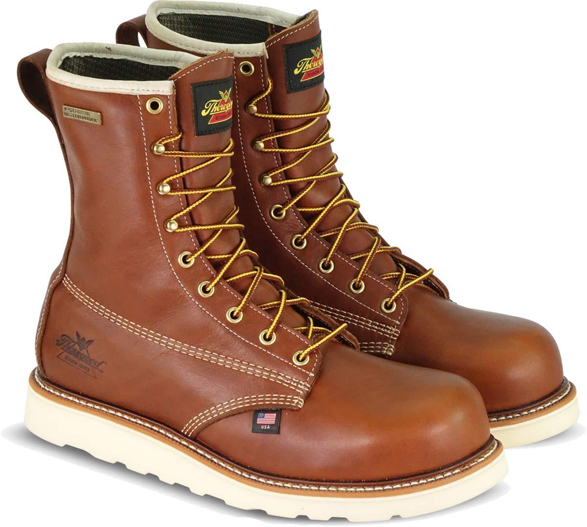 "Thorogood Men's American Heritage 8"" Round Toe, MAXWear Wedge Waterproof Composite Safety Toe Boot"