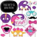 Big Dot of Happiness Roar Dinosaur Girl - Dino Mite T-Rex Baby Shower or Birthday Party Photo Booth Props Kit - 20 Count
