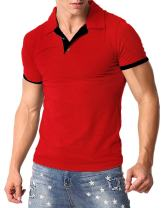 MODCHOK Men's Polo Shirt Short Sleeve Collar T Shirts Cotton Tee Button Casual Slim Fit Tops