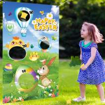 B bangcool Easter Bean Bags Toss Games Chick Bunny Eggs Indoor Entertainment Game Acivities Easter Party Decoration with3 Bean Bags