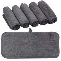 KinHwa Reusable Makeup Remover Cloths Soft Microfiber Face Cleansing Cloth Magically Remove Cosmetics Only with Water 6inch x 12inch 6 Pack Dark-Gray