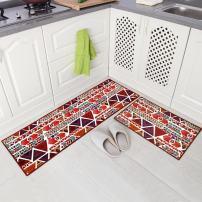 """Carvapet 2 Piece Non-Slip Kitchen Mat Runner Rug Set Doormat Vintage Design Indian Style,Triangle (15""""x47""""+15""""x23"""")"""