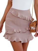 BerryGo Women's High Waist Faux Suede Ruffle Elegant Pencil Mini Skirts