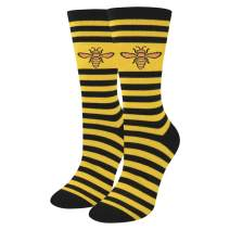 HAPPYPOP Cute Busy Bee Socks, Funny Novelty Honeycomb Bugs Socks for Women Girls