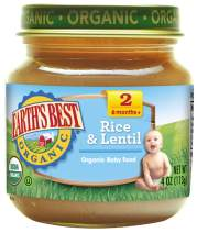 Earth's Best Organic Stage 2 Baby Food, Rice and Lentil Dinner, 4 oz. Jar (Pack of 12)
