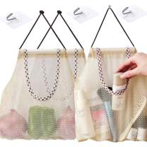 AIYoo Reusable Hanging Storage Mesh Bags 3 Pack with 3 Hooks - Durable & Strong,Fruit Vegetable Bags Breathable Bags for Garlics,Potatoes,Onions or Garbage Bag Organizer Bathroom Storage Bag