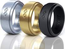 Rinfit Men's Silicone Wedding Ring 1 or 3 Rings Pack. Designed, Safe & Soft Men Silicon Rubber Wedding Ring. Size 7-14. Metallic Colors.