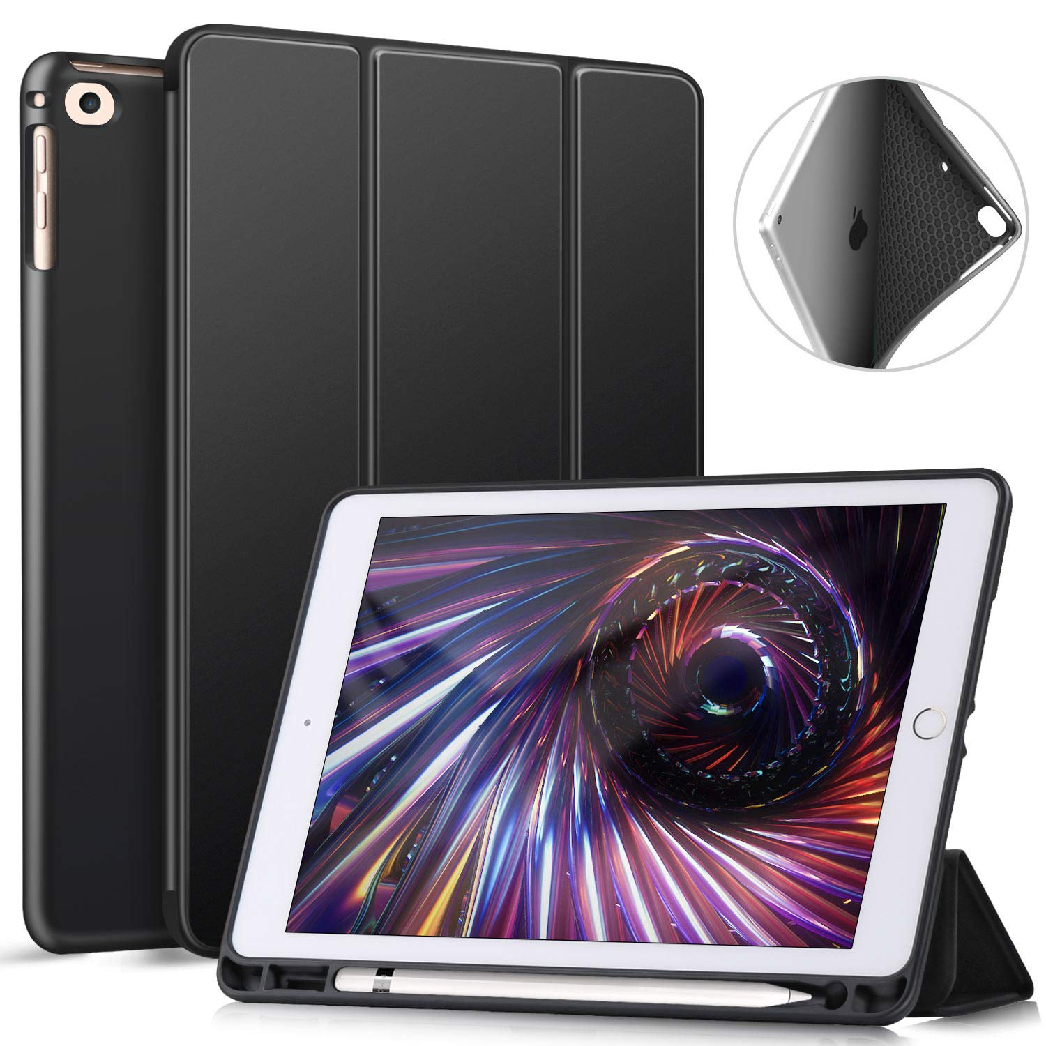 ZtotopCase iPad 9.7 Inch 2018/2017 Case with Pencil Holder - Lightweight Soft TPU Back Cover and Trifold Stand with Auto Sleep/Wake, Protective for iPad 6th/5th Generation, Black