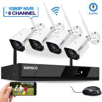 [8CH Expandable, Audio] Sansco Full HD 2MP Wireless CCTV Camera Security System with Motion Detection, 8 Channel 1080p Network IP NVR with 4 1920x1080 in/Outdoor WiFi Home Cameras, No Hard Drive
