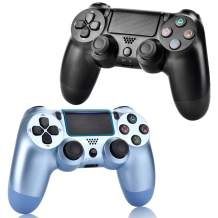 2 Pack Wireless Controllers for PS4, Wireless Remotes Control, YU33 Joystick Gamepad for PS4 Controller with Double Shock and Charging Cables (Titanium Blue and Jet Black)