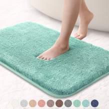 "VANZAVANZU Bathroom Rugs 16""x24"" Ultra Soft Absorbent Non Slip Fluffy Thick Microfiber Cozy Bath Mat for Tub Shower Bathroom Floors Accessories (Egg Blue)"