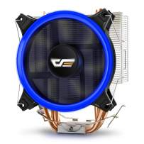 darkFlash CPU Cooler PC Heatsink with Four Direct Contact Heat Pipes & 120mm PWM Blue LED Fan Computer CPU Air Cooling Cooler Radiator for Intel & AMD