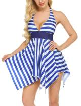 ADOME Sailor Swimsuit for Women Stripe Swimdress Tummy Control Bathing Suit