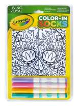 Living Royal Crayola Kid's Color-in Socks - Includes 1 Pair of Socks and 4 Fabric Markers (Sugar Skull)
