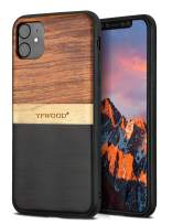 YFWOOD Compatible for iPhone 11 Case 6.1 Inch Unique Wood Shockproof Drop Proof Bumper Protection Cover for iPhone 11