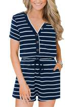 Beiranduo Women Cotton Button Front Striped Shorts Jumpsuit Summer Casual V Neck Short Sleeve Romper with Pockets