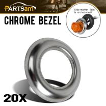 """Partsam 3/4"""" round Stainless Steel Trim Ring Bezel For 3/4"""" Accent Marker Lights and all 3/4"""" Round Marker Clearance Lights (Pack of 20)"""