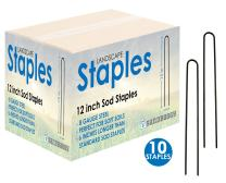 Sandbaggy 12-inch 8-Gauge Round Top Landscape Staples~SOD Staples Garden Stakes Weed Barrier Pins (10 Staples)
