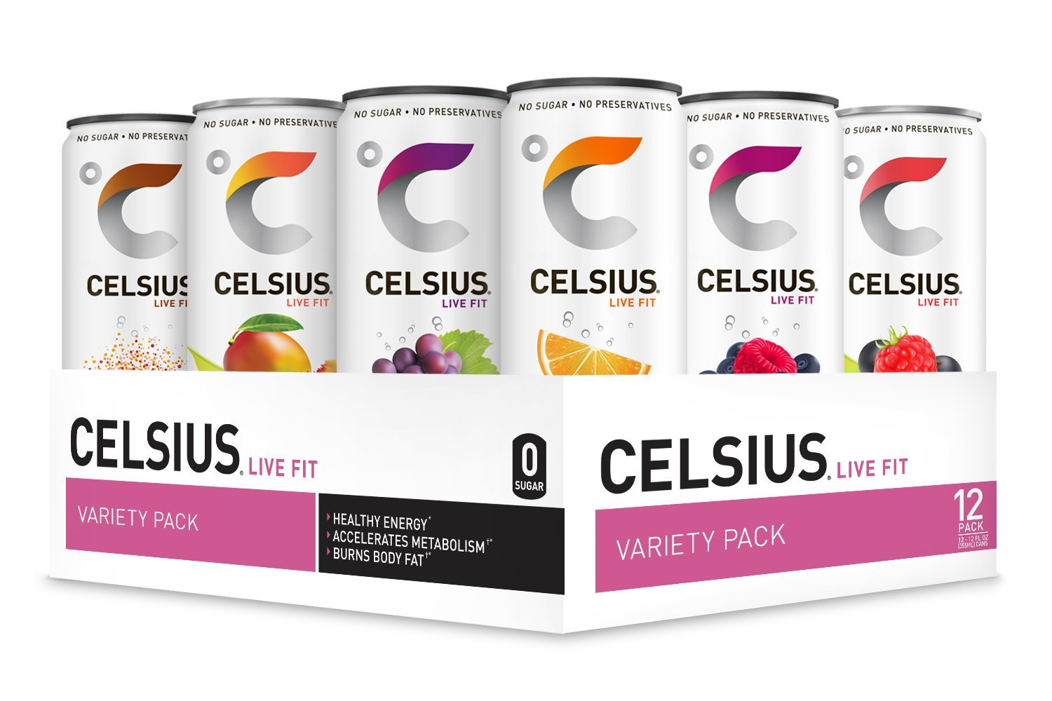 CELSIUS Fitness Drink Variety Pack, Zero Sugar, 12oz. Slim Can, 12 Pack