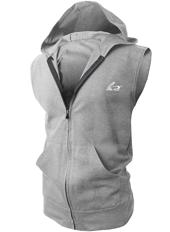 PAIZH Men's Sleeveless Workout Hoodie Zip-up Vests Gym Bodybuilding Lifting Tank Tops
