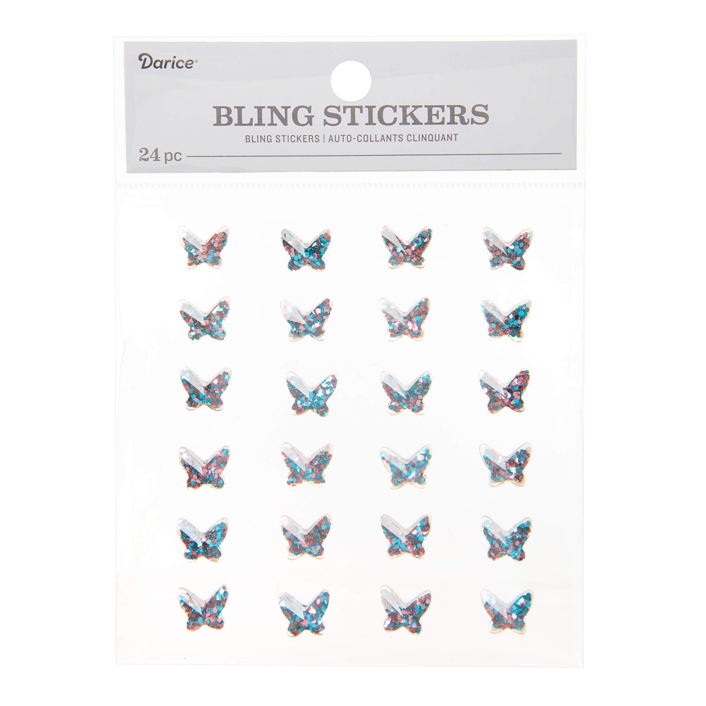 Darice Glitter Butterfly 24 Piece Bling Stickers, Iridescent Blue/Pink