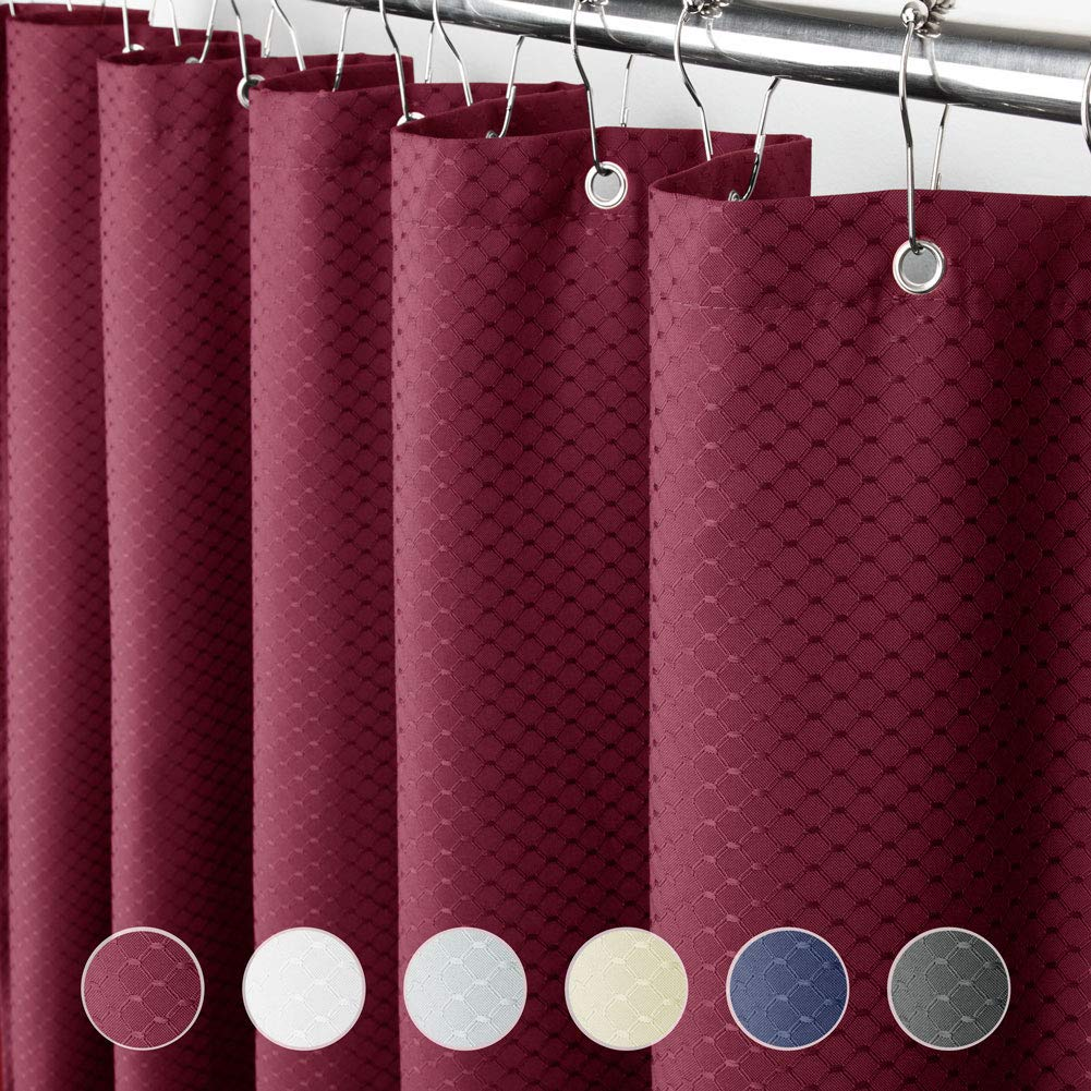 Eforcurtain Jacquard Solid Red Color, Vintage Fashion Waffle Weave Cloth Shower Curtains Stall X Long 54 Inch by 78 Inch, Heavy Duty Bath Curtains for Home and Hotels Water Repellent
