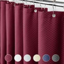 Eforcurtain Small Stall Size 36 by 72 Inches Waffle Pattern Hotel Fabric Shower Curtain Water Resistant, Heavy Weight Bath Curtain with Rust Proof Metal Grommets, Red Color