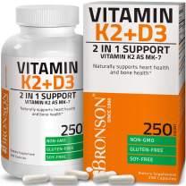 Vitamin K2 (MK7) with D3 Supplement Bone and Heart Health Non-GMO Formula 5000 IU Vitamin D3 & 90 mcg Vitamin K2 MK-7 Easy to Swallow Vitamin D & K Complex, 250 Capsules
