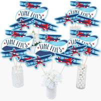 Taking Flight - Airplane - Vintage Plane Baby Shower or Birthday Party Centerpiece Sticks - Table Toppers - Set of 15