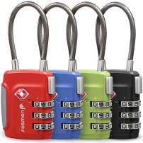 Fosmon TSA Approved Cable Luggage Locks (4 Pack), 3 Digit Combination Padlock with Zinc Alloy Steel Cable Lock Ideal For Travel Suitcase, Backpack, Lockers - Black, Green, Red and Blue