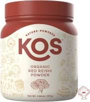 KOS Organic Red Reishi Mushroom Powder - Pure Ganoderma Lucidum (Red Reishi) Mushroom Supplement - Natural Adaptogen, Nootropic and Powerful Immunity Support - 7.58 Oz. (215g), 50 Servings