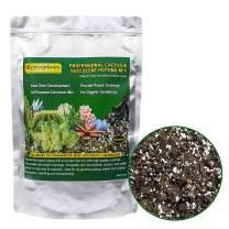 Organic Succulents & Cactus Soil Mix, Fast Draining Pre-Mixed Blend, Small Bag Potting Soil for Indoor Plants, 4 Quarts