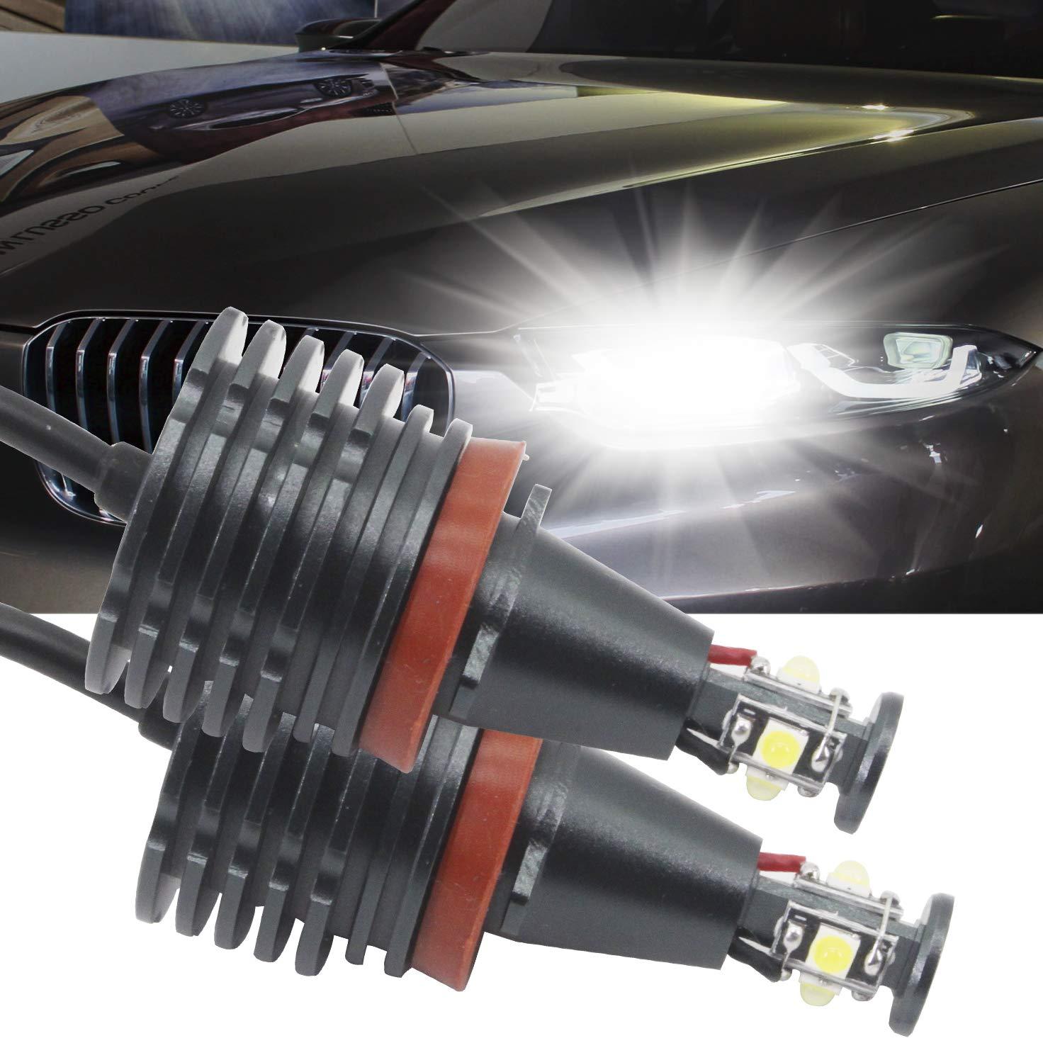 H8 LED Angel Eyes Halo LED Ring Bulb CREE 80W White Fit for BMW E60 E61 E90 E92 E70 E71 E82 E89 1 3 5 Series X5 X6 Z4(Pack of 2)