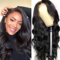 "Lemoda Brazilian 360 Lace Frontal Body Wave Hair Wig 150% Density Pre Plucked Virgin Human Hair Wigs With Baby Hair Bleached Knots Nature Color for Black Women (16"")"